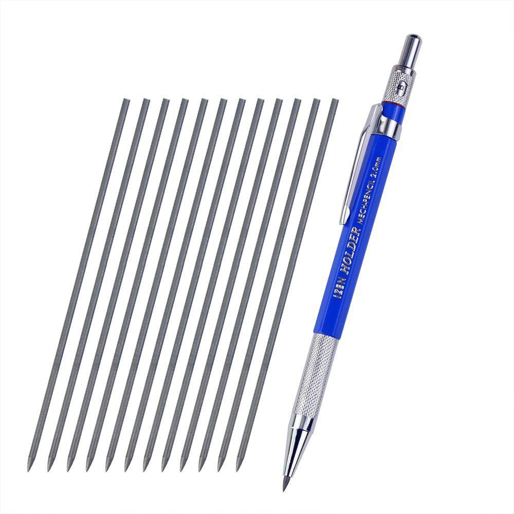 Halter Automatische Bleistift 2,0 mm schwarze Bleistifte führt Box Metall-Clip Griff zeichnen mechanische Schreiben Zeichnung Schulmaterial