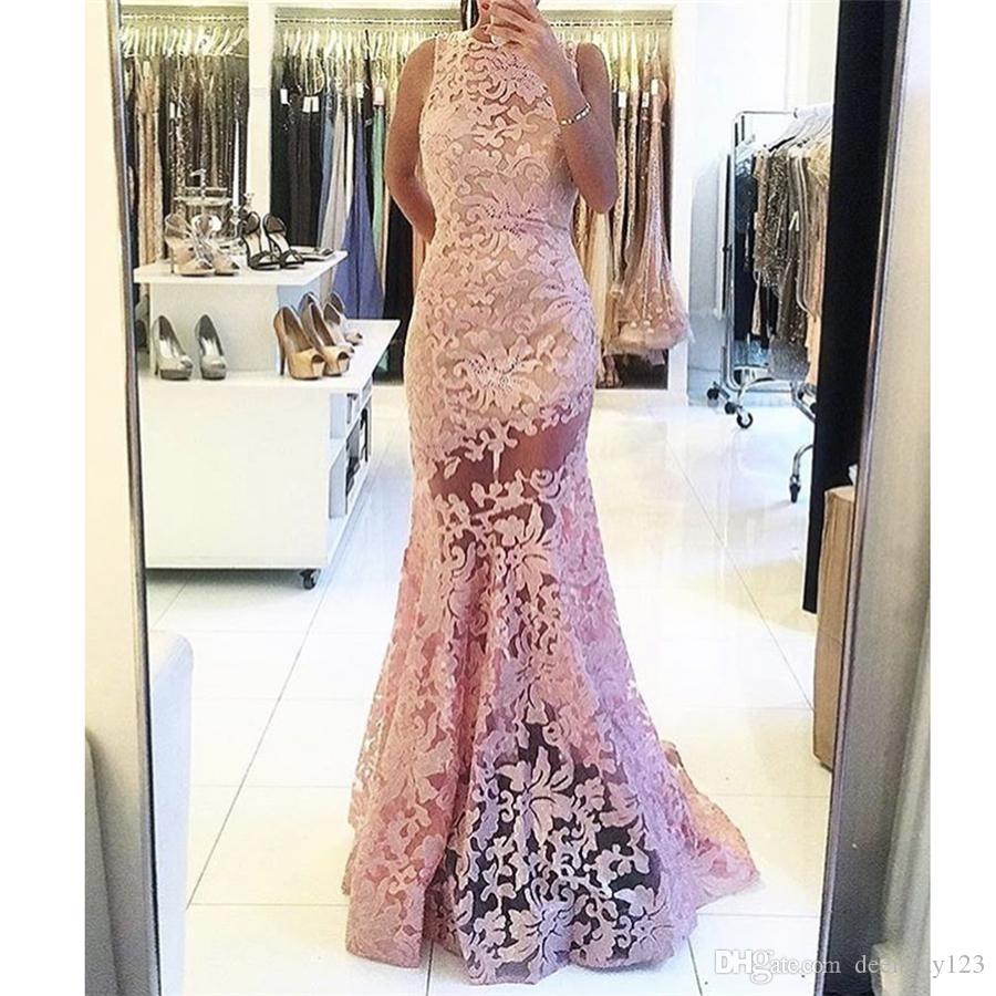 Simple diseño rosa o cuello sin mangas See Through Vestido de noche Backless sirena Sheer Lace Prom Vestidos