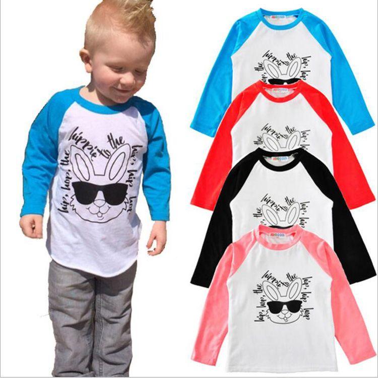 INS Kids T Shirts Baby Hipster Rabbit Shirts Girls Words Print Raglan Sunglasses Tops Toddler Hiphop Long Sleeve Tanks Kids Clothing G165