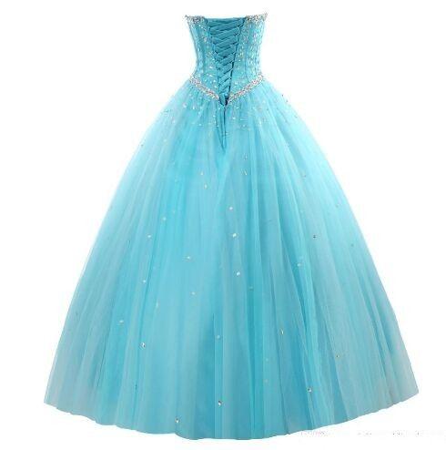 Yeni Zarif Nane Mavi Quinceanera elbise Balo ile Boncuk Ruffles Pullu Dantel-Up sweep tren Balo Parti elbise