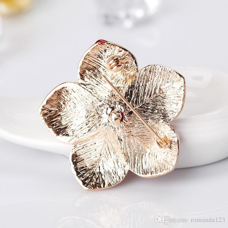 Fashion Royal British Legion Spille Smalto Poppy Crystal Red Flower Design Spilla Pins Gioielli moda Donna Uomo