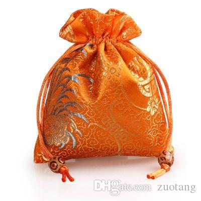 Crisantemo Grueso Pequeño Brocado de Seda Bolsa de Regalo Cordón Joyería Maquillaje Embalaje Bolsas de Perfume de Especias Bolsas Bolsas de Regalos de Bolsillo 50 unids