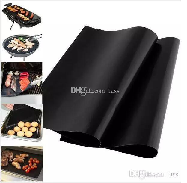 300pcs Barbecue Grilling Liner BBQ Grill Mat Portable Non-stick and Reusable Make Grilling Easy 33*40CM 0.2MM Black Oven Hotplate Mats