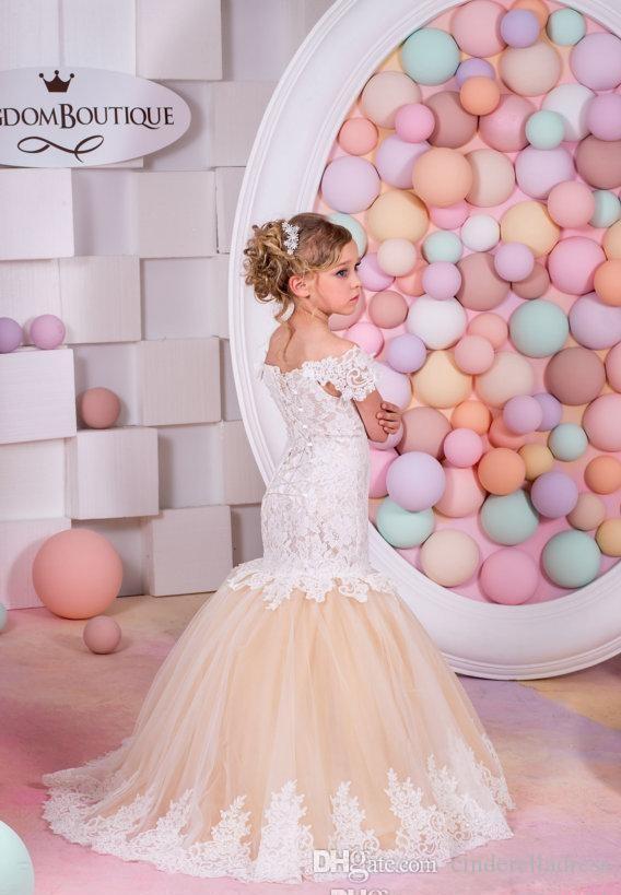 2019 Cap Manga Cristales Encaje Tul Vestidos de niña de flores Sirena Vintage Niño Vestidos del desfile Hermosa niña de las flores Vestidos de boda del país
