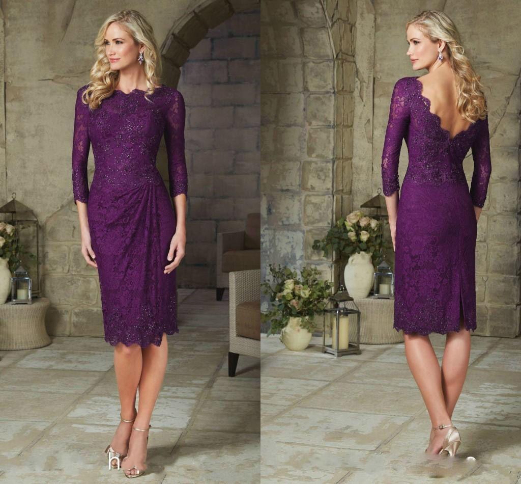 Modest Purple Sheath Mother Bride Dresses Lace Sleeves Knee Length
