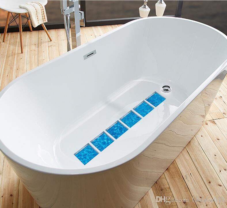 6 UNIDS / Set 15x15 cm Moderno 3D Etiqueta Engomada Del Baño Pegatinas de Bañera A Prueba de agua Autoadhesiva Decoración de la pared DIY antideslizante calcomanías bañera