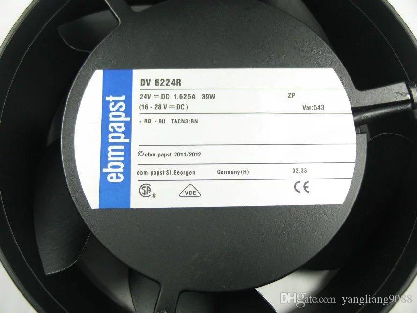 ebmpapst DV 6224 R DV6224R DC 24V 39W Connecteur 2-wier 100mm 172x172x51mm Serveur Ventilateur de refroidissement rond