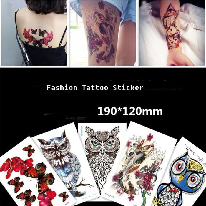 bc56a8e7af Large Temporary Tattoos Body Art Men Women Fashion Owl Tattoo Colored Paper  Feathers Wolf Tattoo Sticker Wholesale Buy Temporary Tattoos Online  Celebrity ...