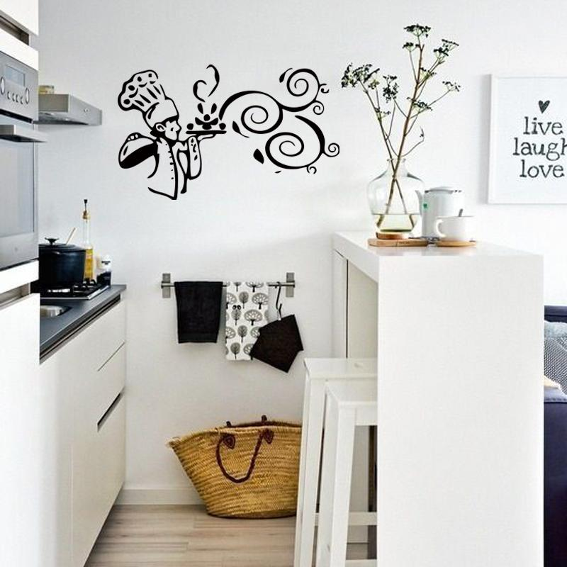new style kitchen cook food quote wall stickers funny art dining