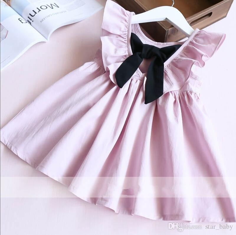 2017 Hot Selling Girl's Deep V-neck Pleated Dress Bow Lotus Leaf Kids Clothes Dress High Quality Skirt D7208