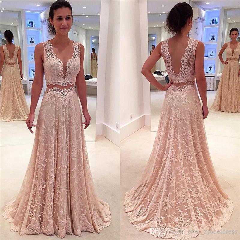b8189447e3eeb4 Two Pieces Blush Pink Prom Dresses 2017 Plugging V Neck Sheer Ncek Open  Back Sweep Train Lace Evening Dresses Formal Party Gown Custom Plus Size  Prom ...