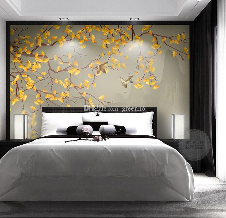 Elegant 3d wallpaper chinese painting wall mural ginkgo for 3d wallpaper for dining room