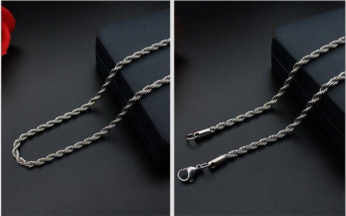 الترقيات الكبيرة! الفضة الفولاذ المقاوم للصدأ حبل سلسلة قلادة جراد البحر المشابك سلسلة مجوهرات صنع حجم 2mm في طول العرض 50cm