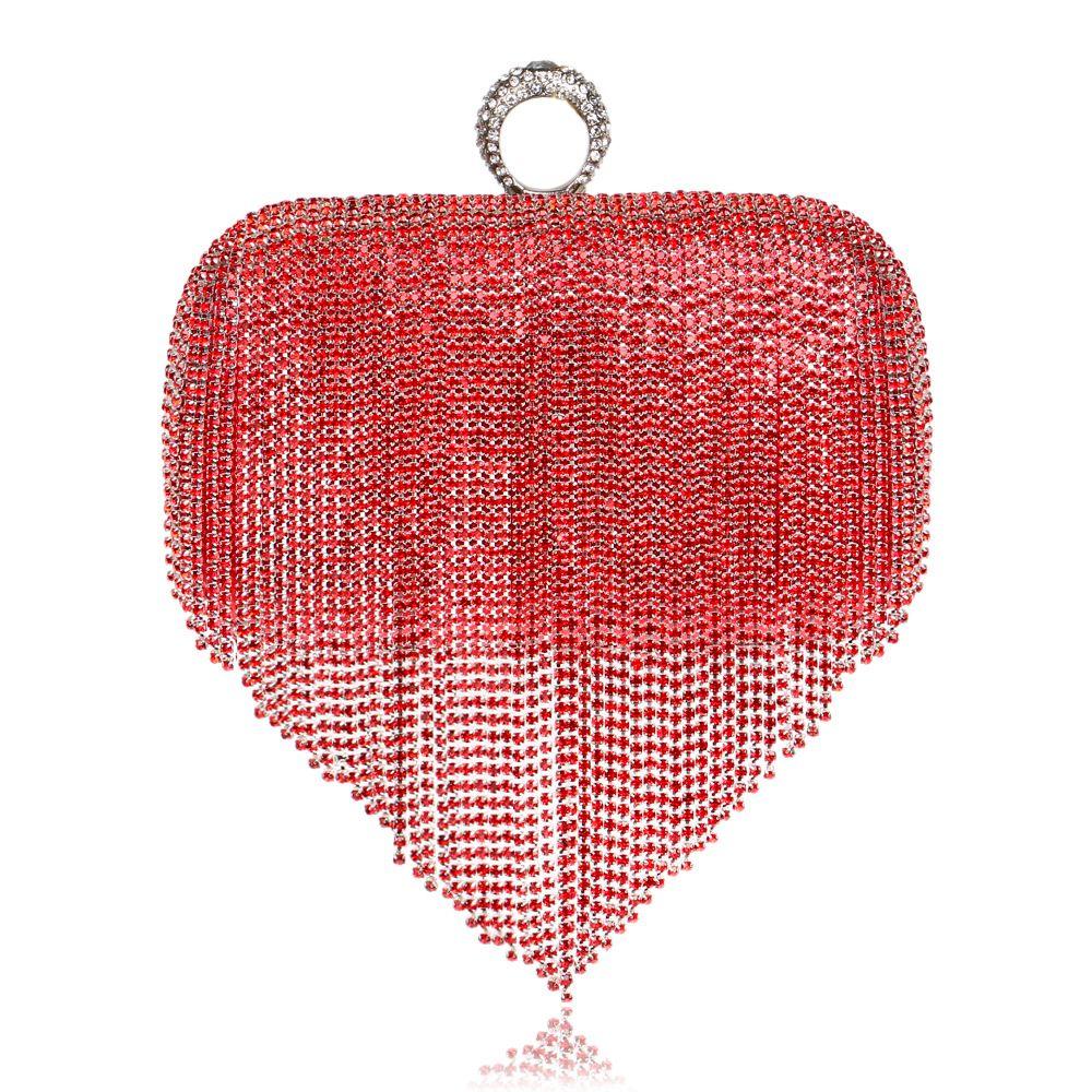 Women Metallic Box Clutch Rhinestones One Ring Evening Bag Beaded Clutch Purses RhinestoneTassels Wedding Party Prom Evening Handbag