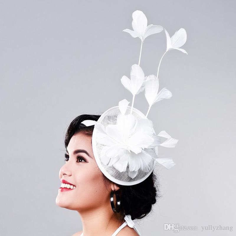 Multiple color Elegant Ladies sinamay fascinator headwear feather party show hair accessories millinery cocktail hats nice headwear MD16018