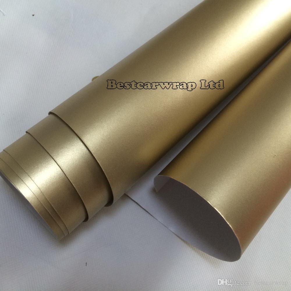 シャンパンゴールドマットクロームメタリックビニールカーラップフィルムエアーバブルフリービークルラッピングホイル1.52x20m /ロール(5×67フィート)