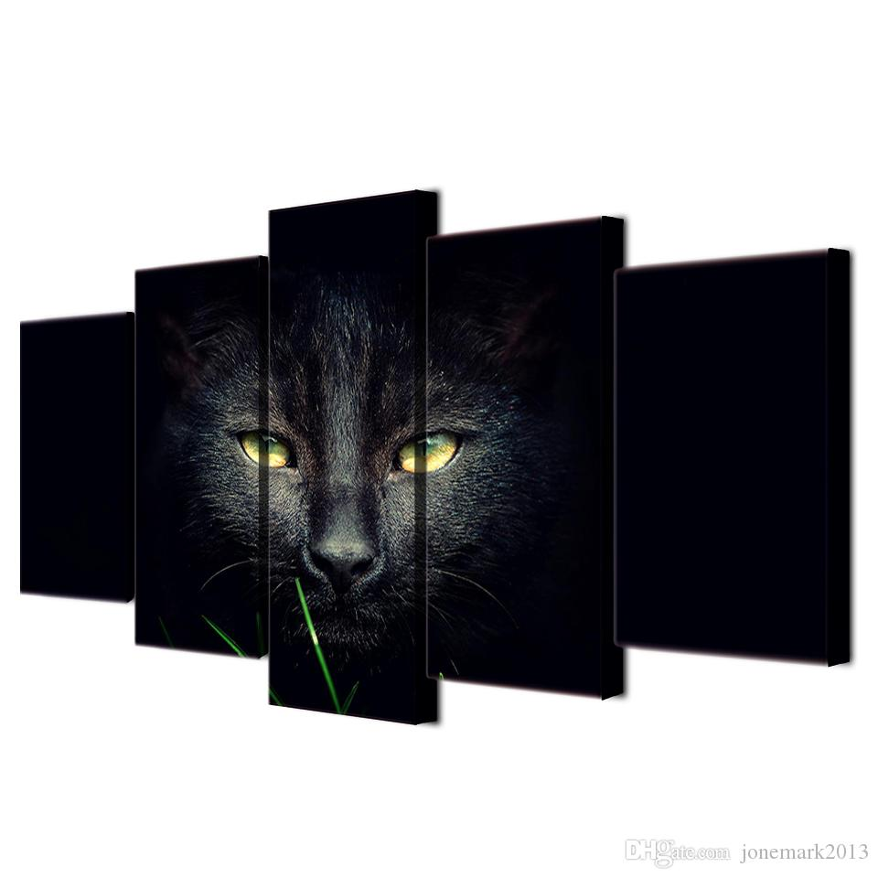 Framed HD Printed Black Cat Painting on canvas room decoration print poster picture canvas /ny-1894