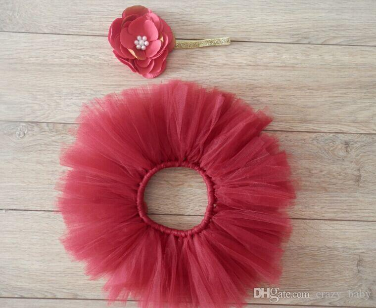 Red Baby Photo Props Tulle Baby Girl Tutu Skirt Bowknot Newborn Photography Props for 0-3 Months