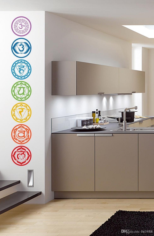 19X19CM Chakras Vinyl Wall Stickers Mandala Yoga Om Meditation Symbol Wall Decals Home Decoration Yoga Colorful Murals