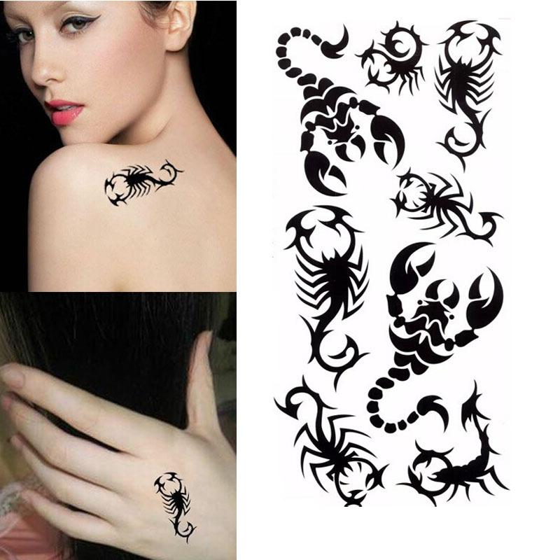 Para Hombre Fresco Escorpión Negro Diseños De Tatuajes Temporales