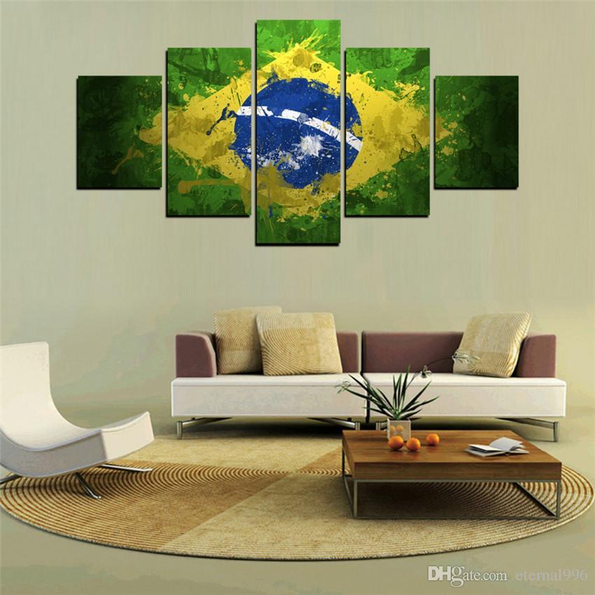 779d744da9ded Compre 5 Painéis HD Impresso Pintura Da Bandeira Do Brasil Na Sala De Lona  Decoração De Impressão Poster De Eternal996