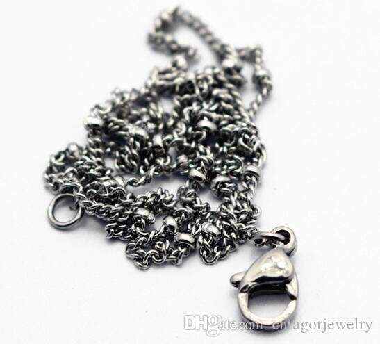 """Width 2.5mm 316L Stainless Steel Fashion Tiny Intermittent Balls Beads With Single Curb Chain Necklace 18""""-22"""" inches"""