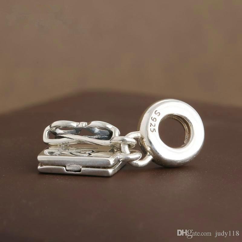 Memnon Jewelry 925 Sterling Silber Ich liebe lesen baumeln Glasrahmen und Buch Anhänger Charm Perlen für Schmuck machen DIY Zubehör DA187