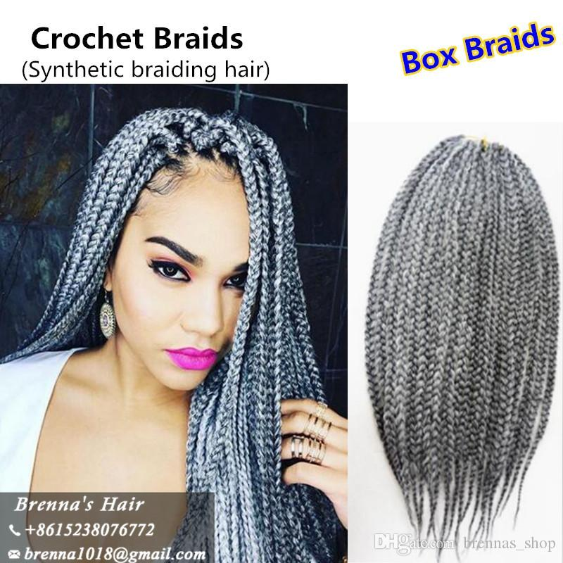 2018 3s Small Box Braid Extensions Burgundy Grey 613