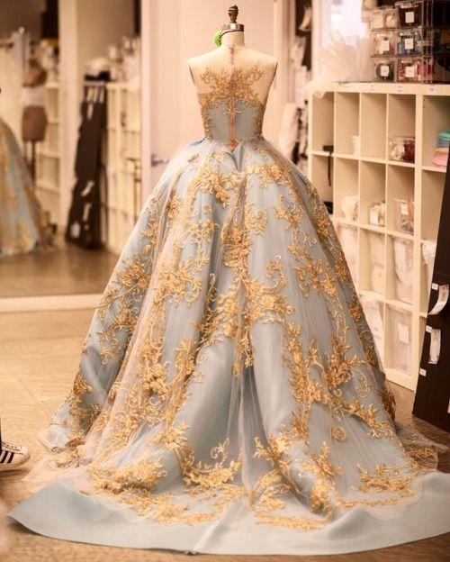 Luxus Gold Spitze Langarm Abendkleider Vintage Himmel Blau Michael Cinco Sheer Hals Saudi-Arabien Plus Größe Gelegenheits-Abendkleid