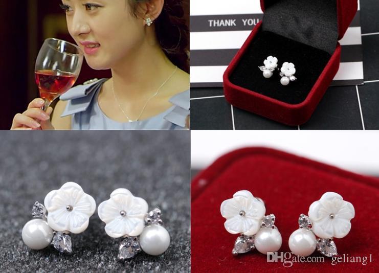 Стерлингового серебра 925 Циркон цветок оболочки жемчужные серьги выбор серьги красивая леди