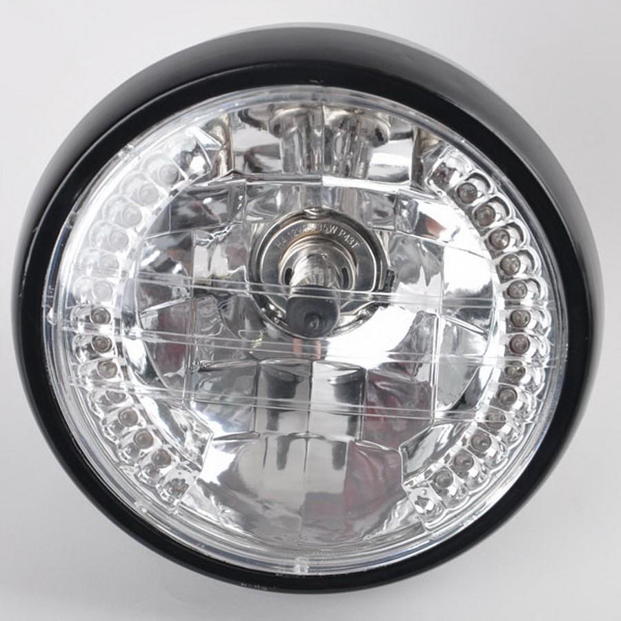 Universalmotorrad-Scheinwerfer mit bernsteinfarbigen Blinker-Anzeigen moto Hauptlampe mit Haltewinkel H4 35W 12V hallo / Abblendlicht La Moto