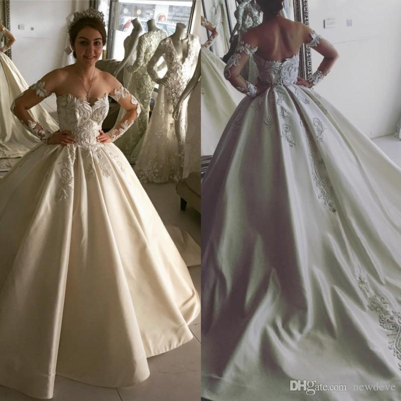 Cheap Lace Ball Gown Wedding Dresses 2017 Fall Plus Size Bridal ...