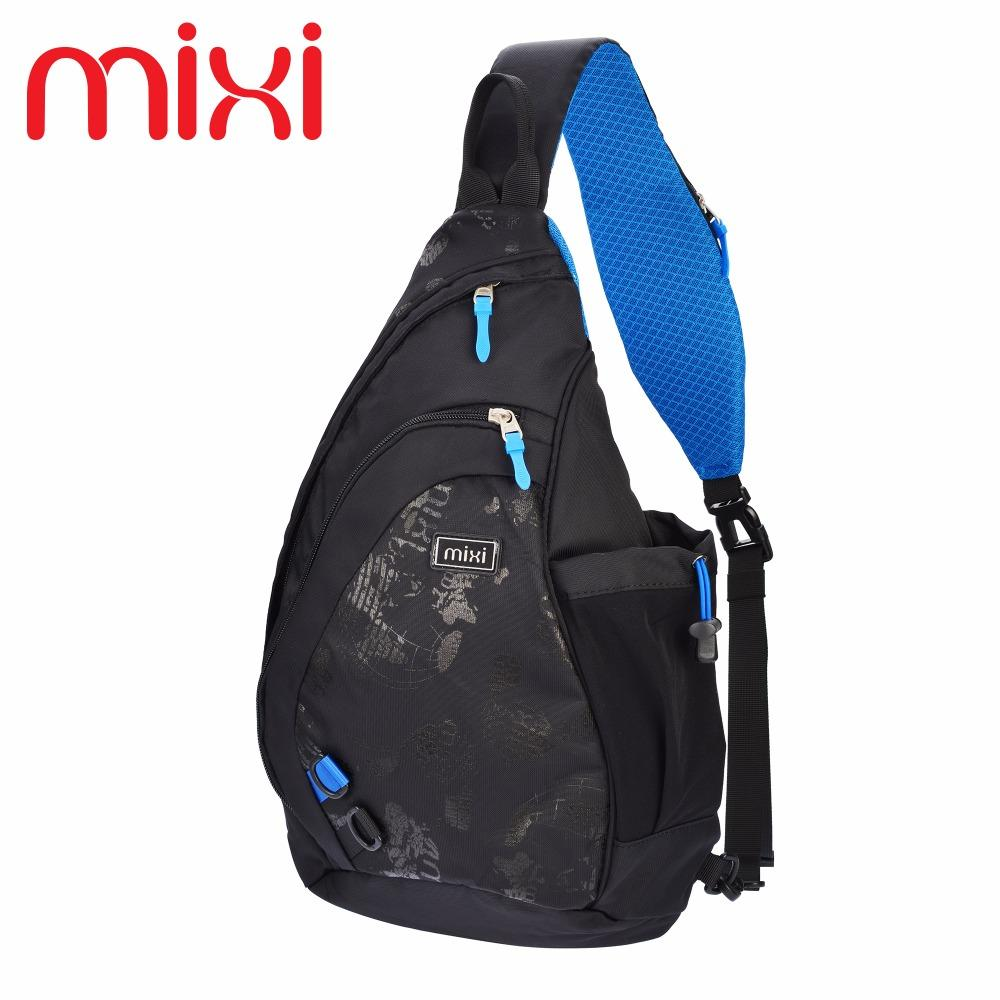 Wholesale- Mixi 2016 Men's Fashion Bicycle Travel Backpack Knapsack Riding Backpack Casual Boys Chest Sling Bag Crossbody Shoulder Bag
