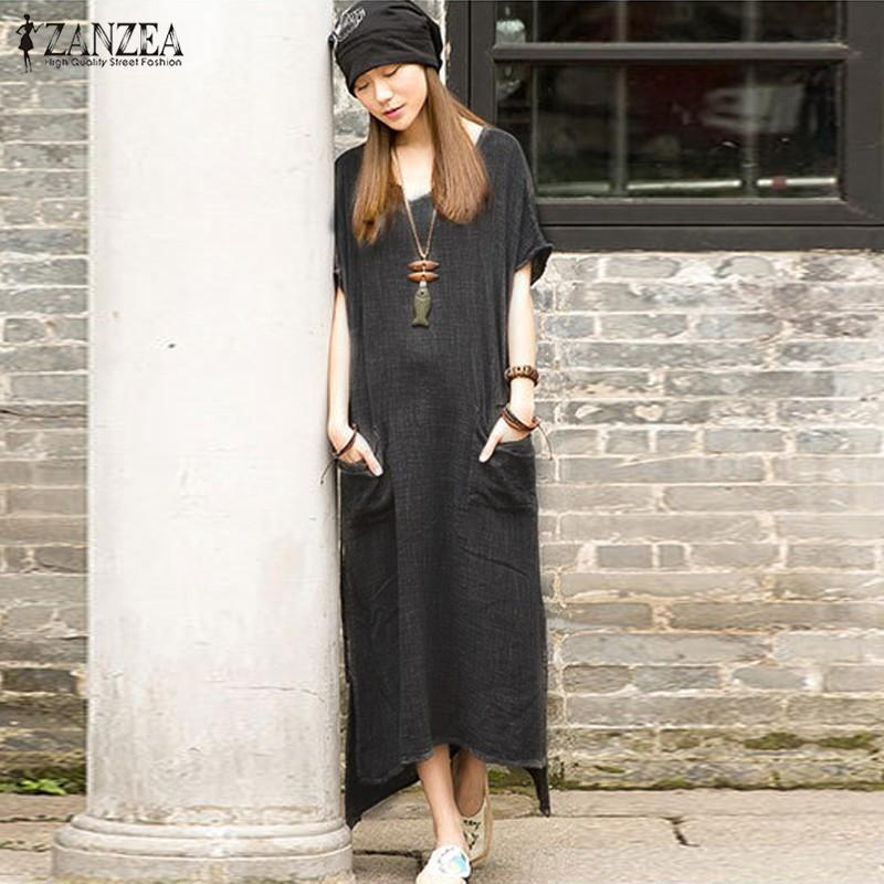 73fc5731a2721 Wholesale- ZANZEA Oversized 2016 Summer Women Retro Casual Loose Long Dress  Cotton Linen Solid Short Sleeve Ankle Length Dress Plus Size Dress Up ...