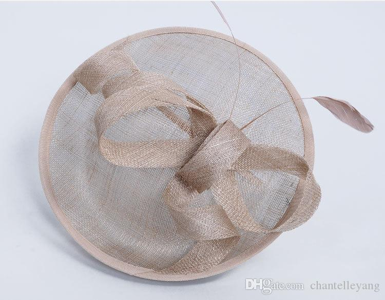 New Design Women Bridal Hat Linen with Feather Lady Chic Fascinator Hat for Wedding Evening Party Cocktail Church Headpiece Hair Accessories