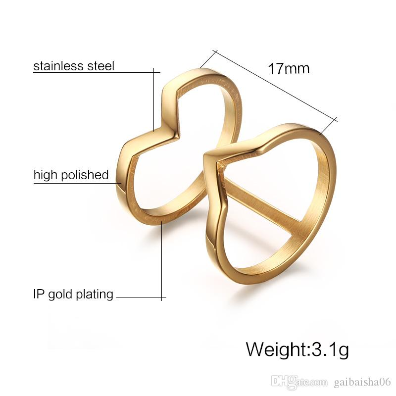 Meaeguet Gold-Color Double Layer Hollow V Shape Ring For Women Statement Rings For Women Stainless Steel Jewelry Anillos Bague R-189