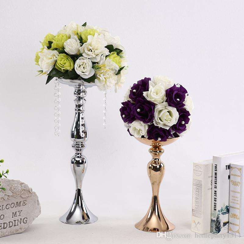 Gold Metal Candle Holders candle pan for wedding home table centerpieces Flowers Vase Candlestick Road Lead Candelabra flower display rack