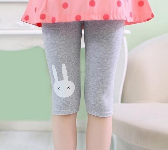 Top Fashion 2-7years Rabbit Footless Girls Knee Length Kid Five Pants Cropped Clothing kids leggings
