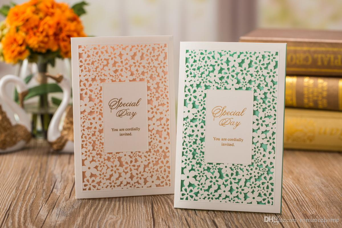 Rural Simple Folded Wedding Invitations Cards Pink & Green Flower ...