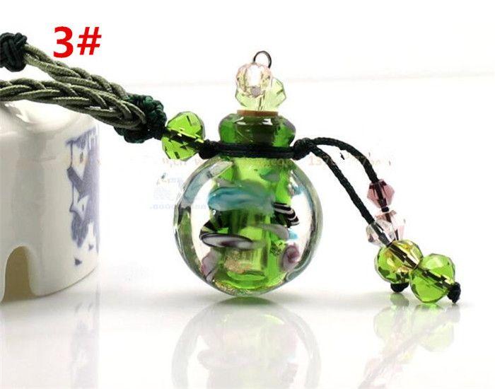 Glas ätherisches Öl Diffusor Halsketten Blumen kleine Fläschchen Anhänger Halskette Aromatherapie Vintage Parfüm Flasche Anhänger Halsketten R008