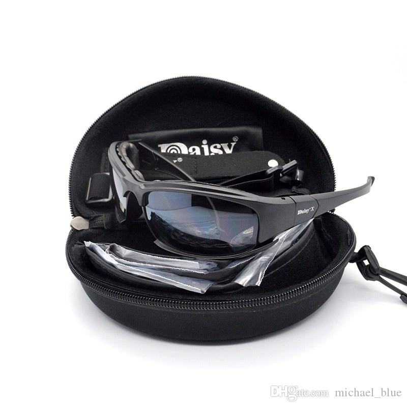 Polarized Daisy X7 Army Sunglasses Tactical Goggles 4 Lens Kit War Game Daisy Glasses Outdoor Bike Men's Glasses