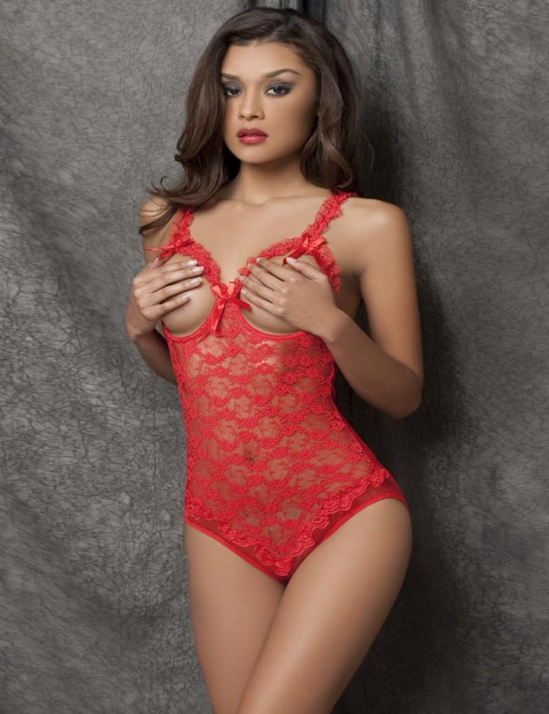 New Arrival Extremely Sexy Open Bust Crotch Lace Bodysuit Racy Babydolls Women Sexy Hollow Out Nightwear Lingerie
