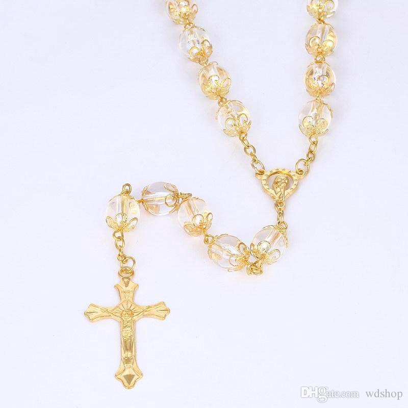 20 Inches Gold Cross Pendant Rosary Necklace High Quality 10mm Transparent Acrylic Beads Necklaces With Virgin Mary Charm Pendant Jewelry