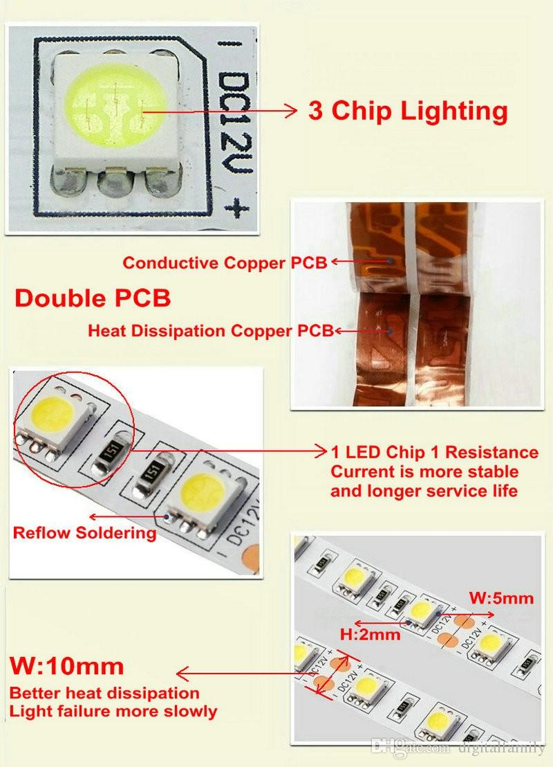 LED Strip Light pure white 5M Bright Ultra-White 5050 SMD warm white red blue Water-proof Flexible 300 LEDs DC 12V Car