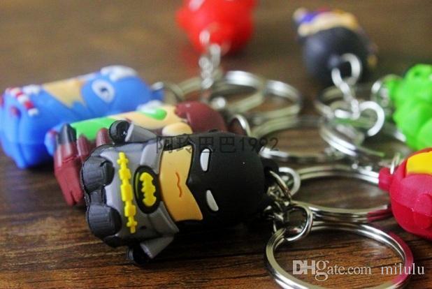 Cartoon Key chains The Avengers Keychain Iron Man/Thor/Batman/Spiderman/Captain America/Joker PVC Toys PVC Pendants free shipping