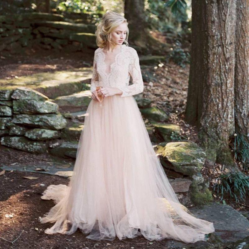 Discount Romantic Lace V Neck Wedding Dress With Long Sleeves Bohemian  Backless Bridal Dresses Light Champagne Tulle Vestido De Novia Custom Made  Cheap ... 4d3aaf3b6