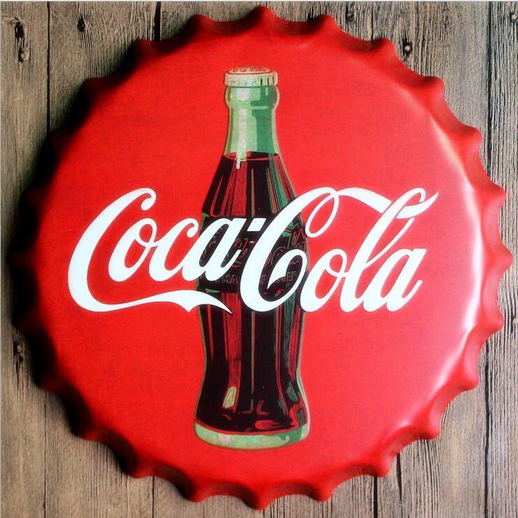 35 Cm Round Coke Bottle Cap Vintage Tin Sign Bar Pub Home