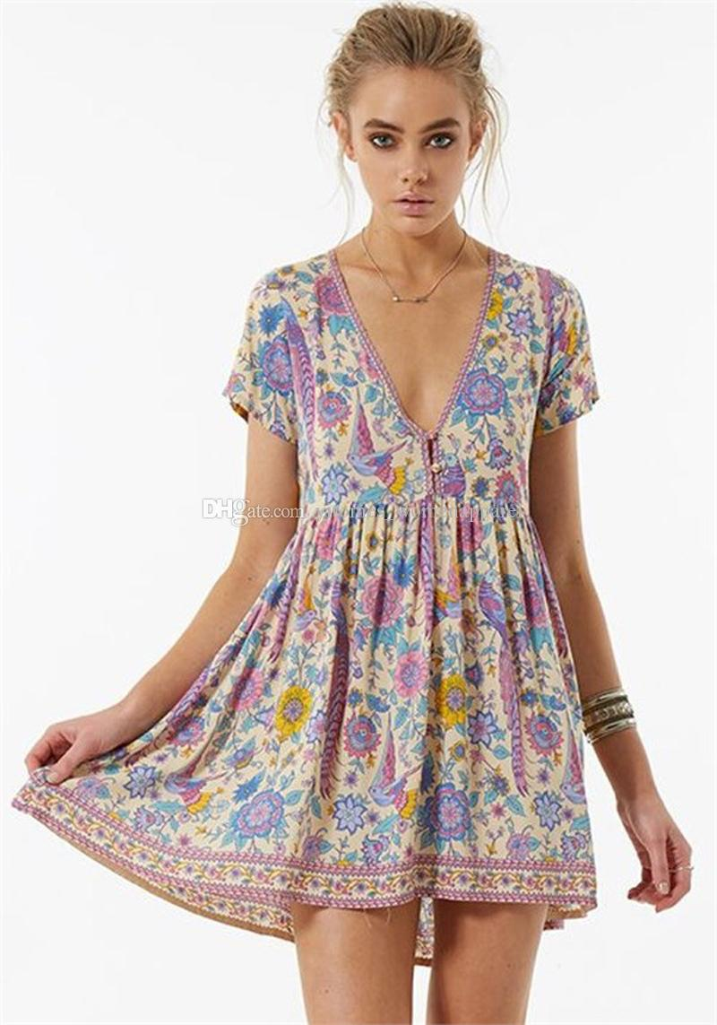 346b1e1fbac7 Purple Love Birds Floral Print Mini Chic Dress V Neck Short Sleeve Boho  Dress New Summer Bohemian Beach Casual Women Holiday Seaside Dresses  Sundresses ...