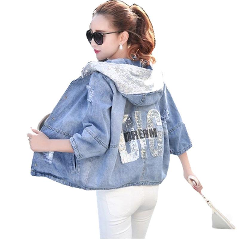 3201ac721f4 Wholesale Spring Autumn Oversized Jeans Jacket Women 2017 Loose Sequin  Hooded Jean Jacket Coat Female Ripped Boyfriend Denim Jackets Jackets And Coats  Women ...