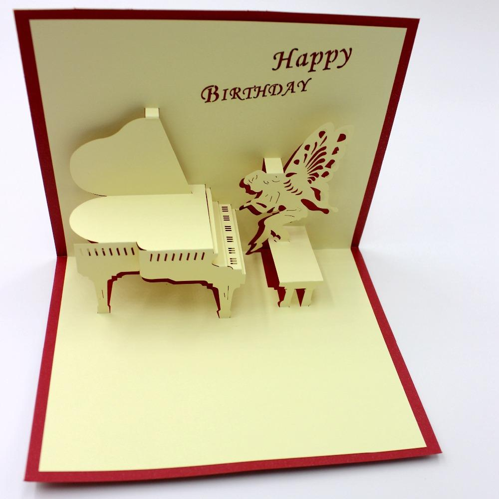 Handmade Kraft Card Laser Cut Creative Piano Music Postcard 3D Paper Sculpture Greeting Cards Birthday Invitation Personalized